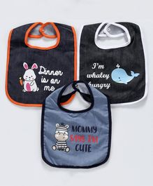 Denim Bibs Animal Print Pack of 3 - Black
