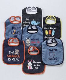Denim Bibs Animal Print Pack of 7 - Blue