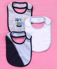 My Milestones Snap Button Bibs Pack of 3 - Blue Grey White