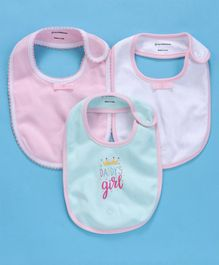 My Milestones Snap Button Bibs Pack of 3 - Baby Pink Aqua White