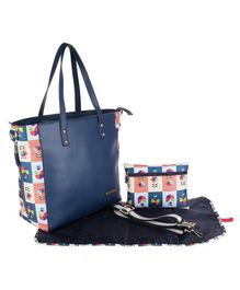 My Milestones Leather Diaper Tote High Street - Navy Mashal