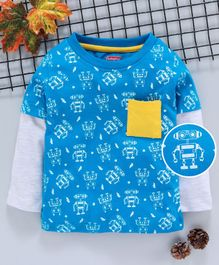 Babyhug Full Sleeves T-Shirt Robot Print - Blue