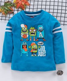 Babyhug Full Sleeves T-Shirt Monster Print - Blue
