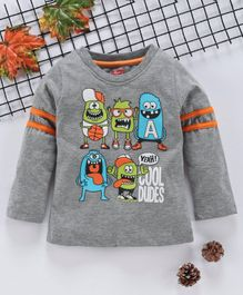 Babyhug Full Sleeves T-Shirt Monster Print - Grey