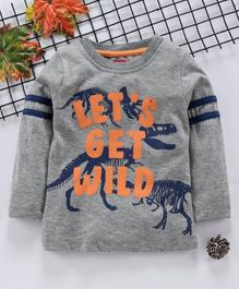 Babyhug Full Sleeves T-Shirt Dino Print - Grey
