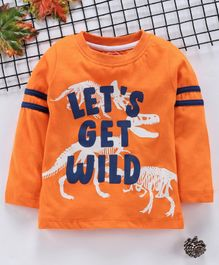 Babyhug Full Sleeves T-Shirt Dino Print - Orange