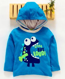 Babyhug Full Sleeves Hooded Tee Dinosaur Print - Blue