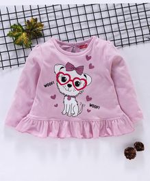 Babyhug Full Sleeves Top Puppy Print - Pink