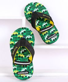 Cute Walk by Babyhug Flip Flops With Back Strap Car Print - Green