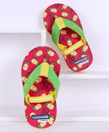 Cute Walk by Babyhug Flip Flops With Backstrap Pineapple Print - Red