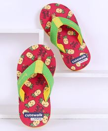 Cute Walk by Babyhug Flip Flops Pineapple Print - Red