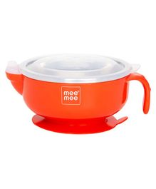 Mee Mee Stay Warm Steel Bowl With Suction Base - Red