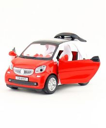Emob Die Cast Pull Back Car Toy with Openable Doors Light and Sound Effects - Red