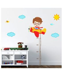 Chipakk Boy with Helicopter Height wall Sticker - Multicolour