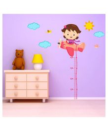 Chipakk Girl in helicopter Height wall Sticker - Multicolour