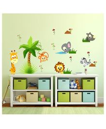 Chipakk Cute Animals  wall Sticker - Multicolour