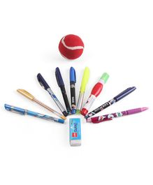 Cello Cricket Fever Stationery Set With Ball Multicolor - 12 Pieces