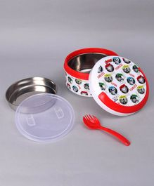 SKI Plastoware Insulated Round Lunch Box With Spoon - White Red