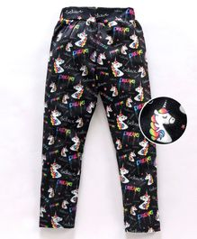 Birthday Girl Full Length Leggings Unicorn Print - Black