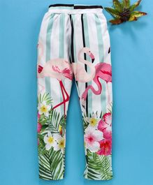 Birthday Girl Full Length Leggings Flamingo Print - White Green