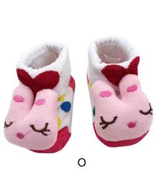 Flaunt Chic Bunny Face Decorated Socks - Pink