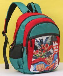 DC Comics Justice League School Bag Green Red - Height 16 Inches