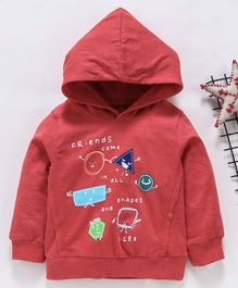 Babyhug Full Sleeves Hooded Tee Friends Print - Red