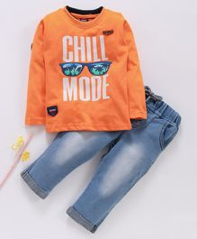 Birthday BOY  Full Sleeves Tee & Jeans Set Chill Mode Print - Orange