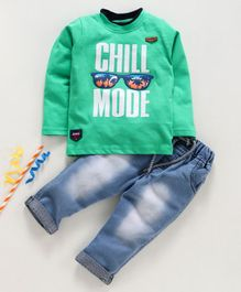 Birthday BOY  Full Sleeves Tee & Jeans Set Chill Mode Print - Green
