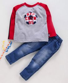 Birthday BOY  Full Sleeves Tee & Jeans Set Football Print - Grey