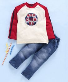 Birthday BOY  Full Sleeves Tee & Jeans Set Football Print - Cream