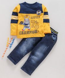 Birthday BOY  Full Sleeves Tee & Jeans Set Little Champion Print - Yellow Blue