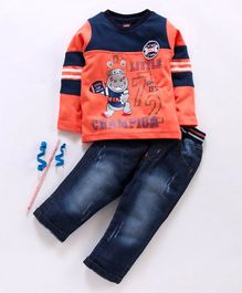 Birthday BOY  Full Sleeves Tee & Jeans Set Little Champion Print - Peach Blue