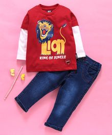Birthday BOY  Full Sleeves Tee & Jeans Set Lion Print - Red
