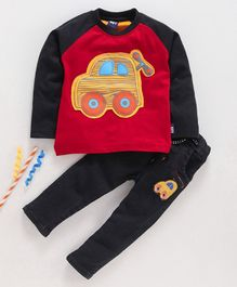 Birthday BOY Full Sleeves T- Shirt & Lounge Pant Set Car Patch - Red Black