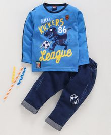 Birthday BOY Full Sleeves T- Shirt & Lounge Pant Set Graphic Print - Blue