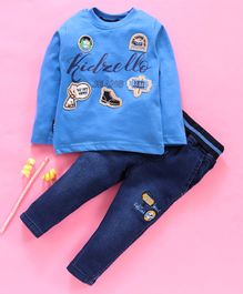 Birthday BOY  Full Sleeves Tee & Jeans Set Multi Patch Work - Blue