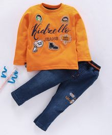 Birthday BOY  Full Sleeves Tee & Jeans Set Multi Patch Work - Orange