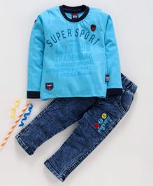Birthday BOY  Full Sleeves Tee & Jeans Set Super Sport Print - Blue