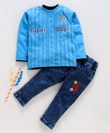 Birthday BOY  Full Sleeves Tee & Jeans Set Super Boys Print - Blue
