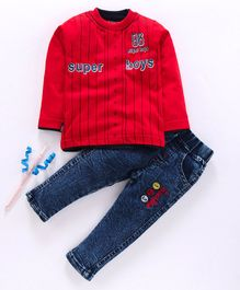 Birthday BOY  Full Sleeves Tee & Jeans Set Super Boys Print - Red