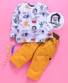 Birthday BOY  Full Sleeves Tee & Pants Set Mutli Print - Yellow Blue