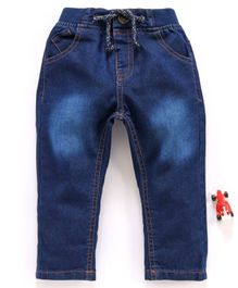 Cucumber Full Length Denim Jeans With Drawstring - Dark Blue