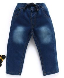 Cucumber Full Length Denim Jeans With Drawstring - Blue