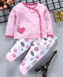 ToffyHouse Full Sleeves Tee & Bootie Leggings Elephant Patch - Pink