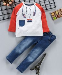 ToffyHouse Full Sleeves Tee & Jeans Head Phone Print - Rust