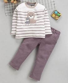 ToffyHouse Full Sleeves Striped Tee With Trousers Fox Patch - Cream Pink