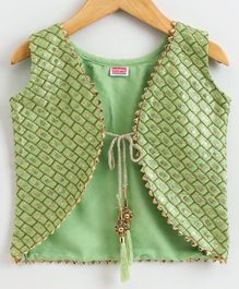 Babyhug Sleeveless Ethnic Jacket Sequin Detailing - Green