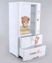 Storage Cabinet With Drawer Bear Print - White