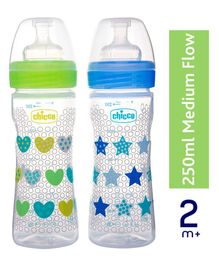Chicco Bipack Well Being Bottle Blue And Green Pack of 2 - 250 ml each